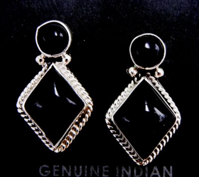 Navajo small onyx and sterling silver post earrings
