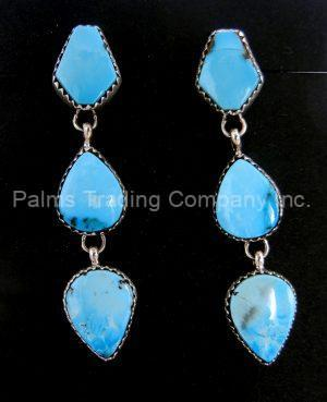 Navajo three stone Kingman turquoise and sterling silver dangle earrings
