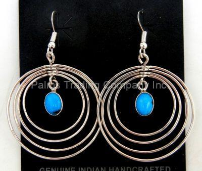 Navajo contemporary turquoise and sterling silver circle dangle earrings