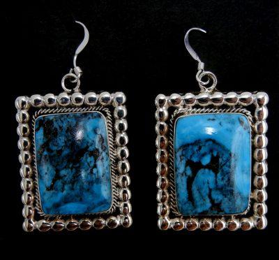 Navajo Kingman turquoise and sterling silver dangle earrings