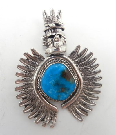 Navajo turquoise and sterling silver eagle dancer pin/pendant by Nelson Morgan
