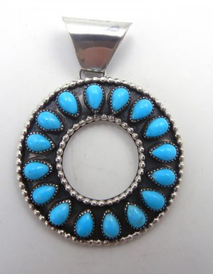Navajo turquoise and sterling silver circle pendant