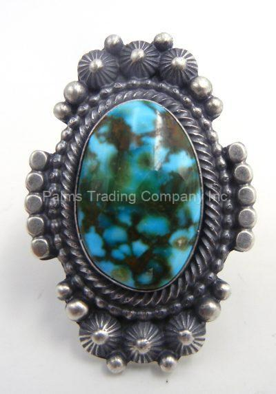 Navajo Sonoran Gold turquoise and sterling silver ring by Tom Lewis