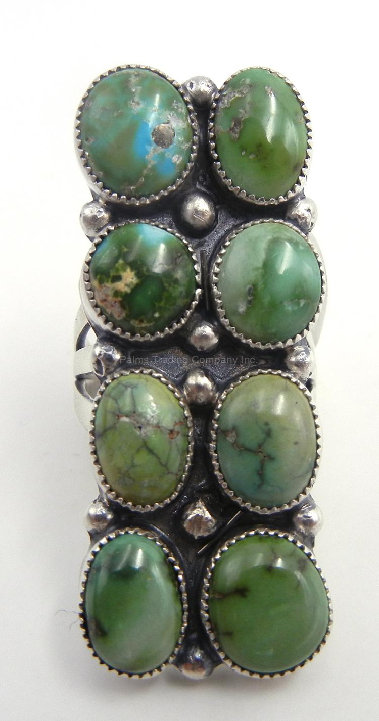 Navajo sonoran gold turquoise and sterling silver ring
