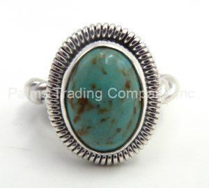 Navajo green turquoise ring with sterling silver rope pattern band