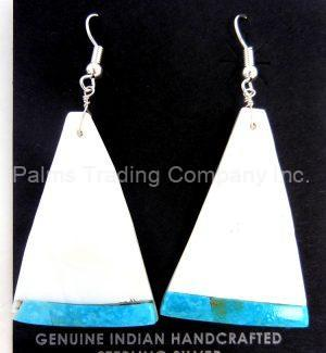 Santo Domingo white mother of pearl and turquoise slab earrings by Veronica Tortalita