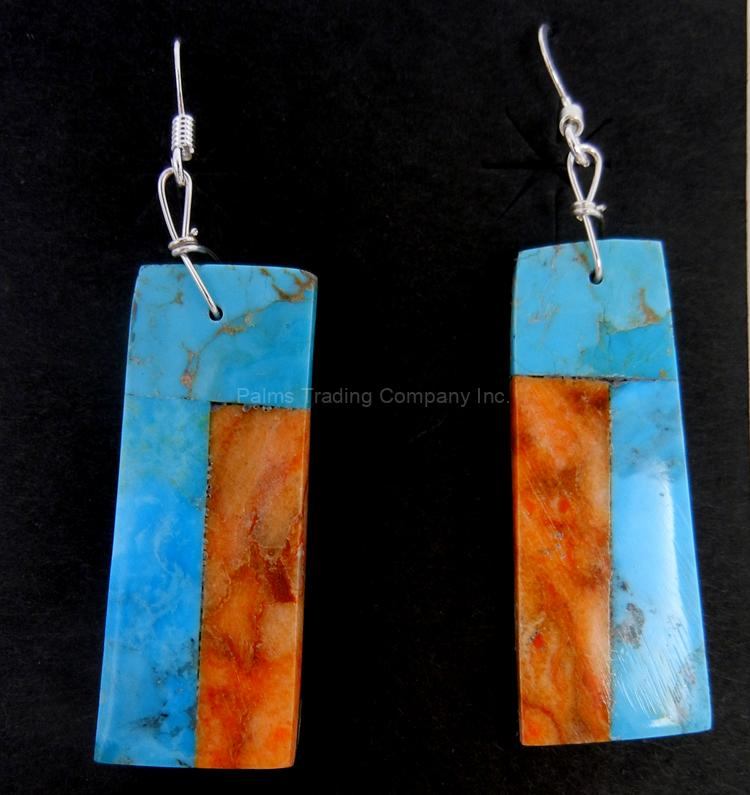 Santo Domingo turquoise and orange spiny oyster shell slab earrings by Voernica Tortalita