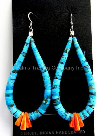 Santo Domingo turquoise and orange spiny oyster shell jacla earrings by Lupe Lovato