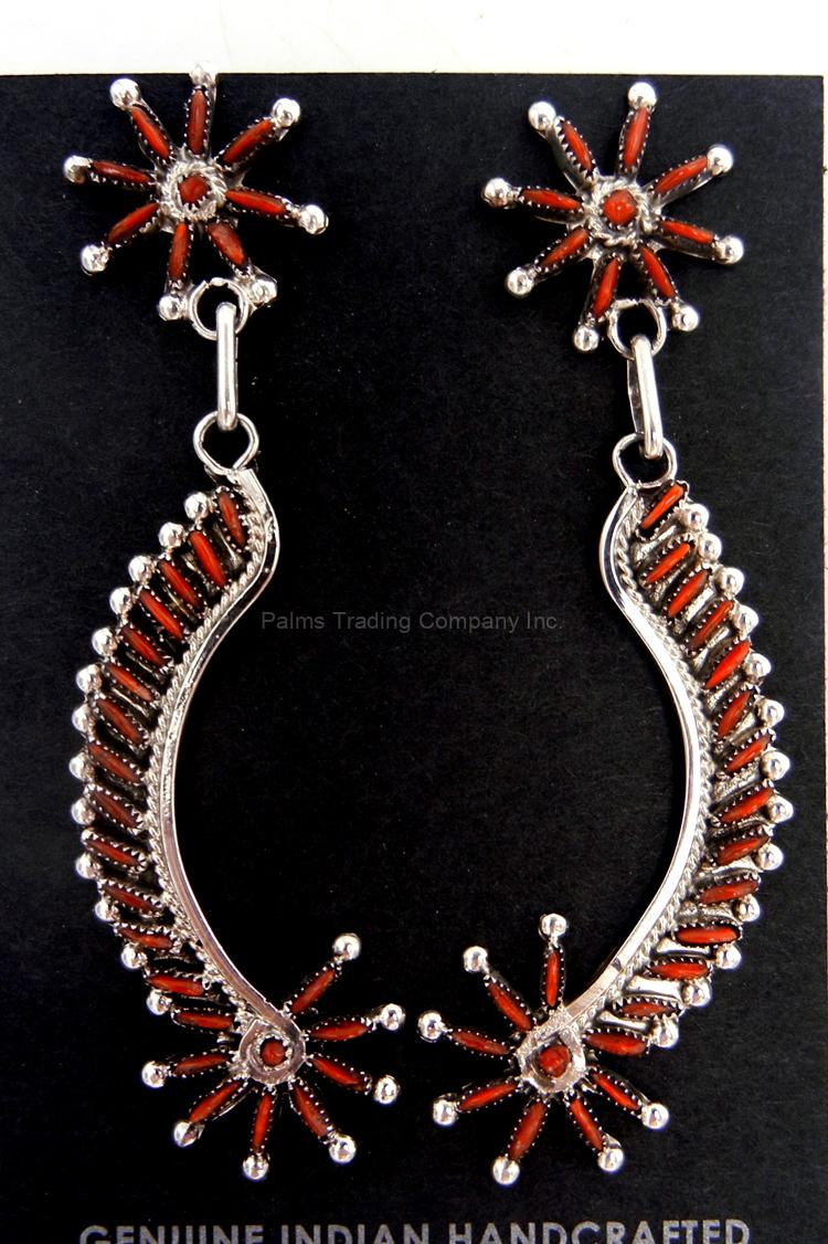 Zuni coral needlepoint and sterling silver starburst and curve earrings