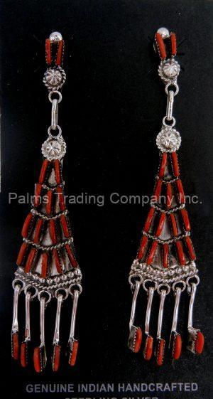 Zuni coral needlepoint and sterling silver chandelier dangle earrings