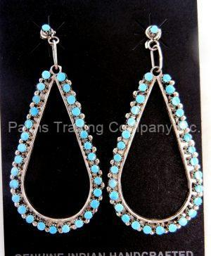 Zuni large turquoise petit point and sterling silver tear drop dangle earrings by Marchelle Qualo