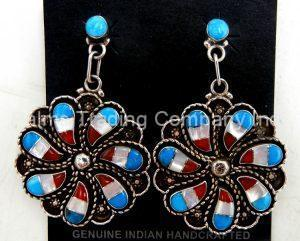 Zuni Multi-Stone Inlay and sterling silver whirlwind dangle earrings