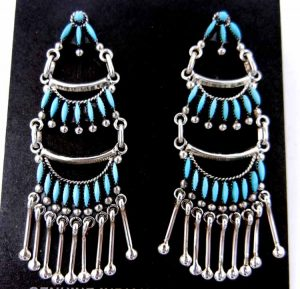 Zuni turquoise needlepoint and sterling silver chandelier dangle earrings by Stewart Nakatewa