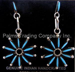 Zuni turquoise needlepoint and sterling silver starburst earrings