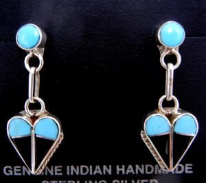 Zuni turquoise, jet, and sterling silver inlay heart dangle earrings