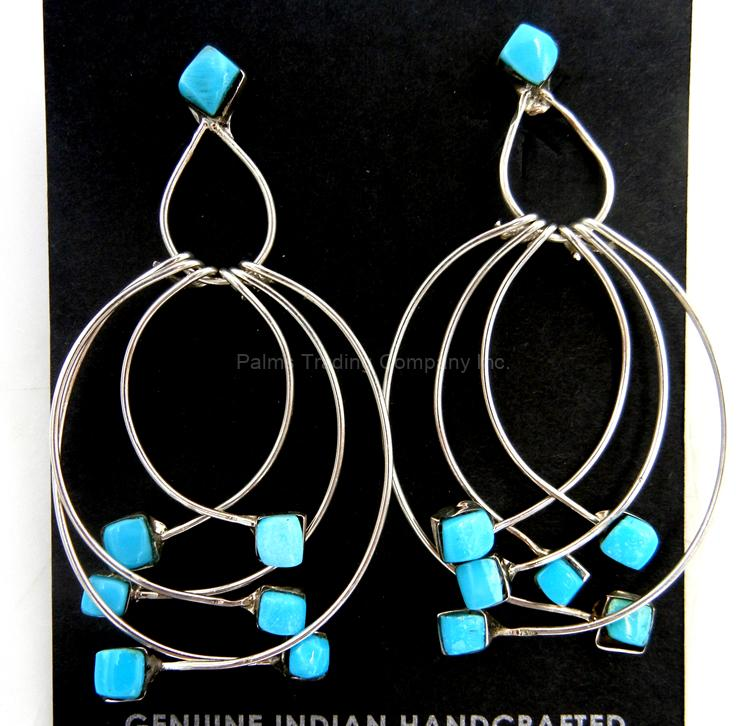 Zuni contemporary turquoise and sterling silver overlapped dangle earrings