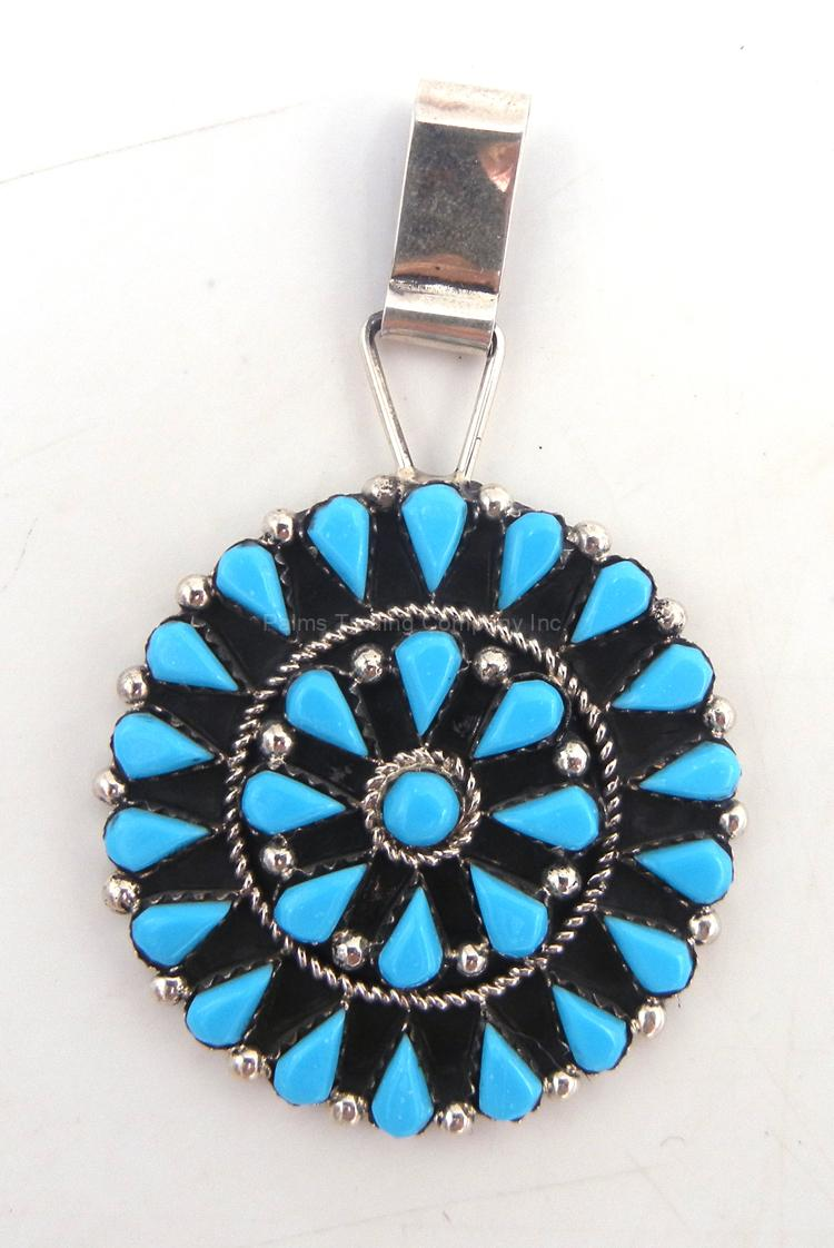 Zuni turquoise and sterling silver cluster pendant