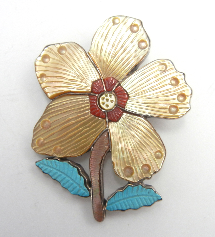 Zuni multi-stone inlay and sterling silver flower pin/pendant