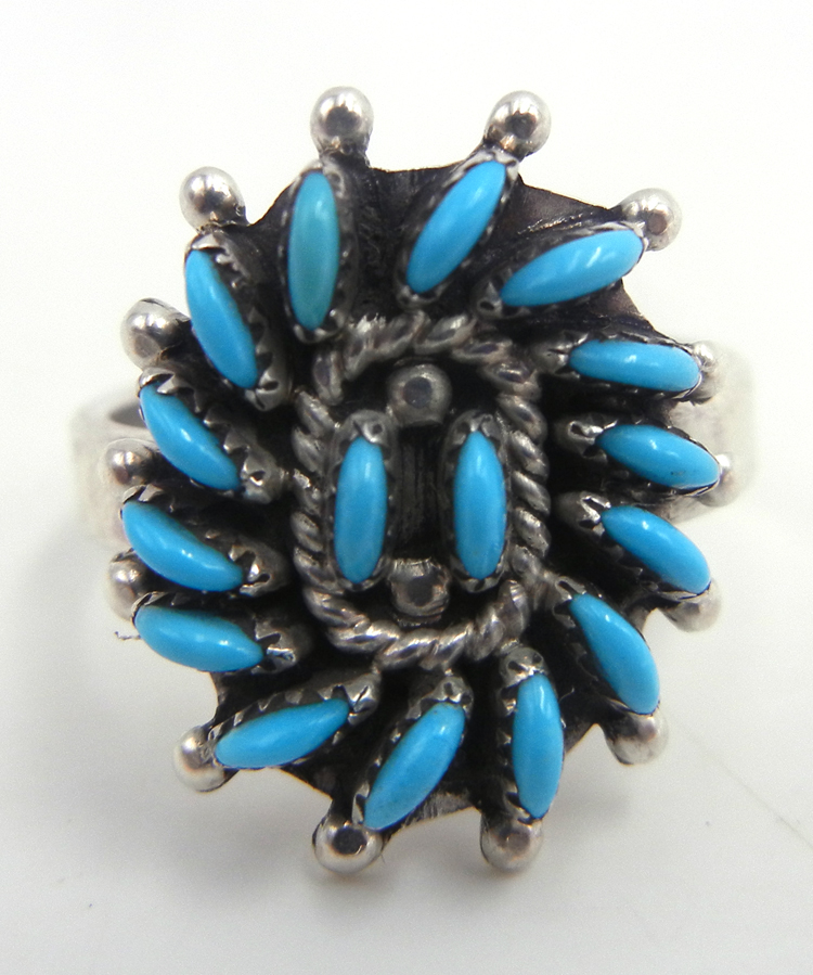 Zuni small turquoise needlepoint and sterling silver ring