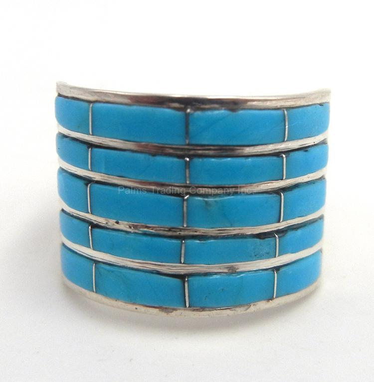 Zuni turquoise and sterling silver wide band channel inlay ring