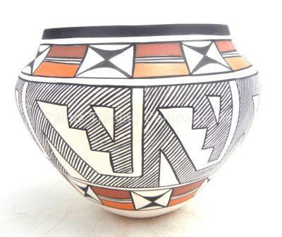 Acoma handmade and hand painted weather design jar by Beverly Garcia
