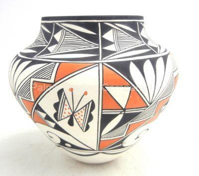 Acoma handmade and hand painted butterfly and weather design jar by Beverly Garcia