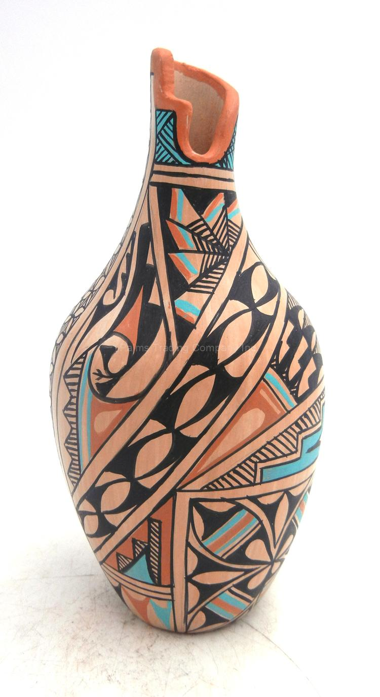 Jemez handmade and hand painted polychrome multi-design vase by Clara Gachupin