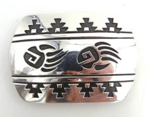 Navajo sterling silver overlay belt buckle with bear paws and kiva steps by Rosco Scott