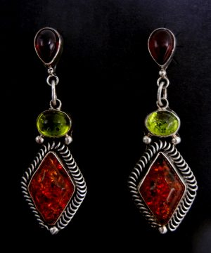 Navajo multi-colored amber and sterling silver dangle earrings