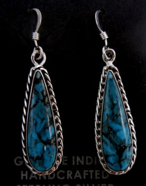Navajo small turquoise and sterling silver tear drop dangle earrings