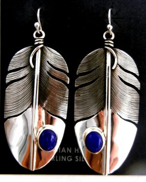 Navajo sterling silver and lapis feather dangle earrings by Lena Platero