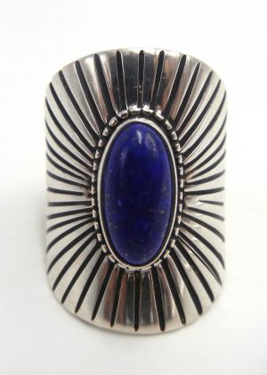 Navajo wide band lapis and sterling silver ring by Jim Bedah