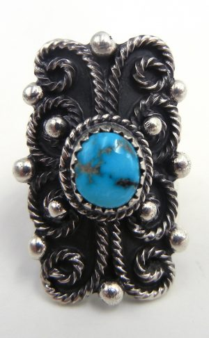 Navajo sterling silver and turquosie applique ring by Will Denetdale