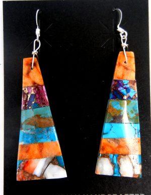 Santo Domingo multi-stone inlay slab earrings by Veronica Tortalita