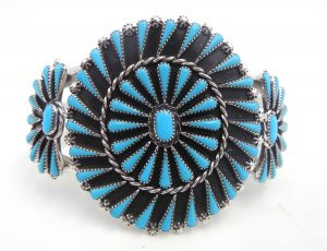 Zuni turquoise needlepoint and sterling silver cluster cuff bracelet