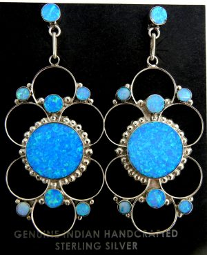 Zuni blue lab opal and sterling silver contemporary dangle earrings