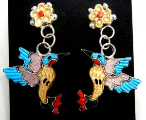 Zuni multi-stone inlay and sterling silver hummingbird and flower earrings by Tamara Pinto