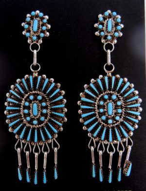Zuni turquoise petit point, needlepoint, and sterling silver dangle earrings