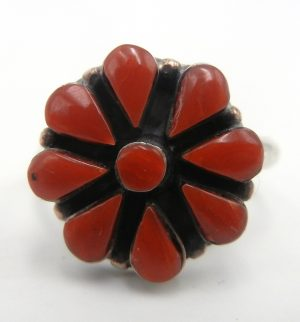 Zuni coral and sterling silver cluster ring