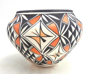 Acoma handmade and hand painted butterfly design polychrome jar by Beverly Garcia