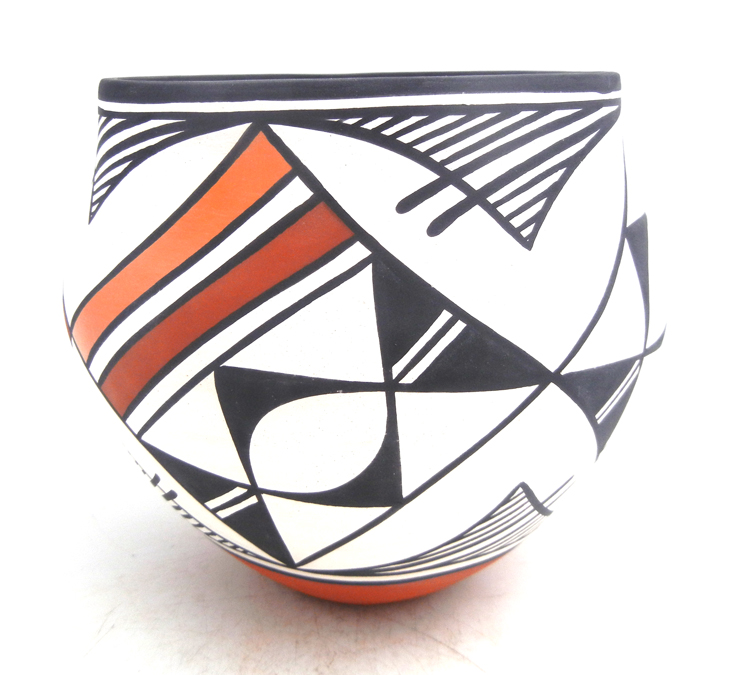 Acoma handmade and hand painted polychrome weather pattern jar by Mary Antonio
