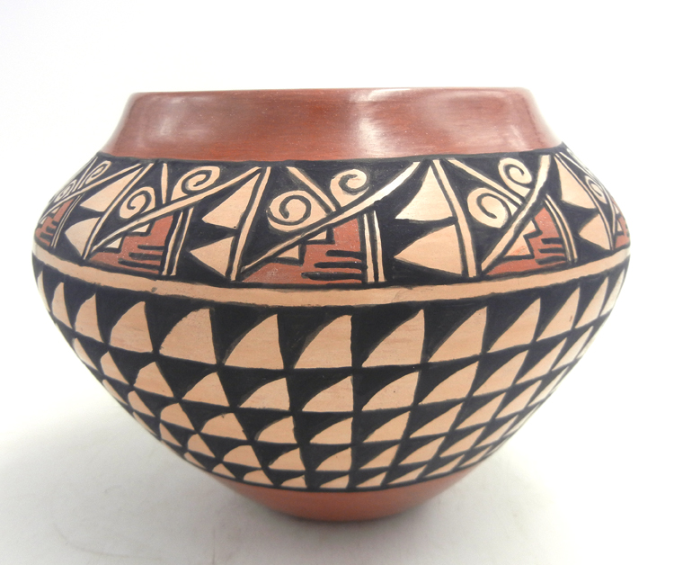 Jemez handmade, painted and polished weather pattern bowl by Juanita Fragua