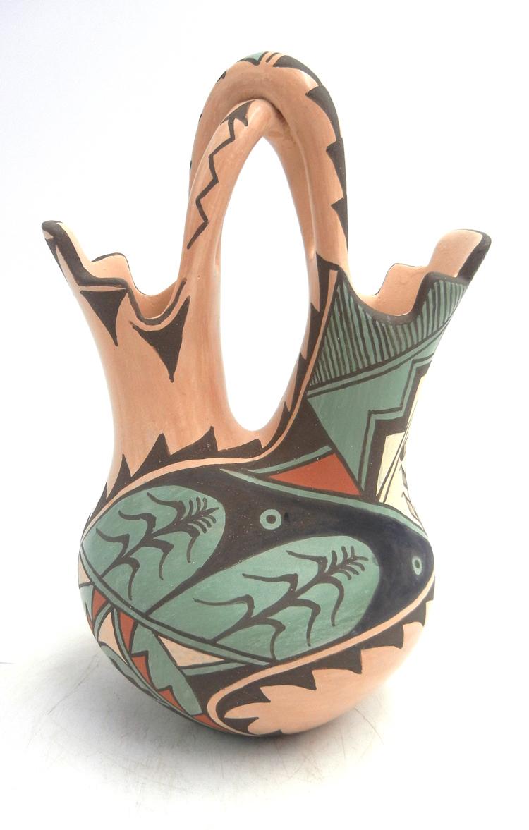 Jemez handmade and hand painted polychrome wedding vase by Juanita Fragua