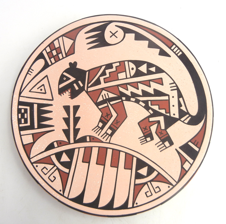 San Ildefonso Erik Fender handmade painted and polished multi-design plate