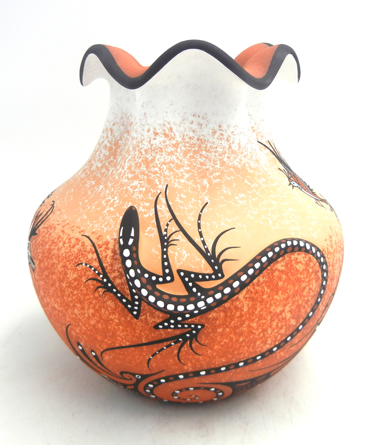 Zuni three dimensional lizard vase with scalloped rim, deer and bird patterns by Deldrick Cellicion