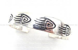 Hopi sterling silver overlay bear paw cuff bracelet