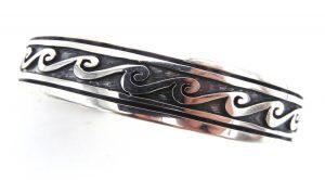 Hopi sterling silver overlay wave pattern cuff bracelet