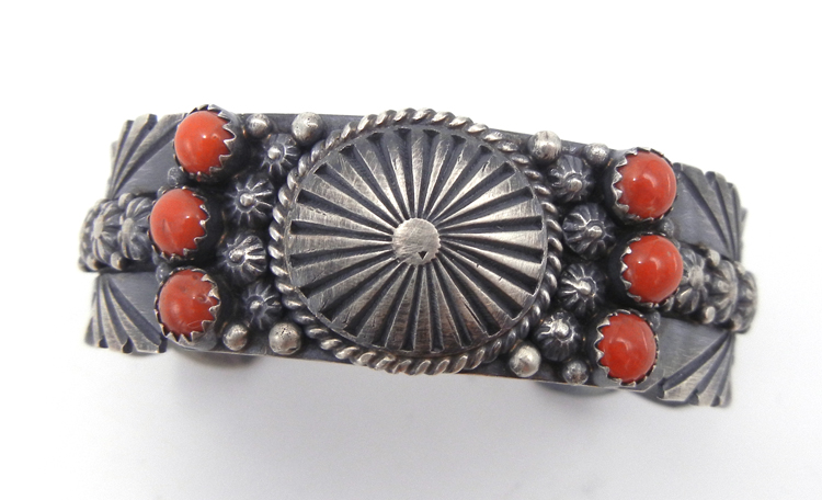 Navajo coral and sterling silver stamped and appliqued cuff bracelet