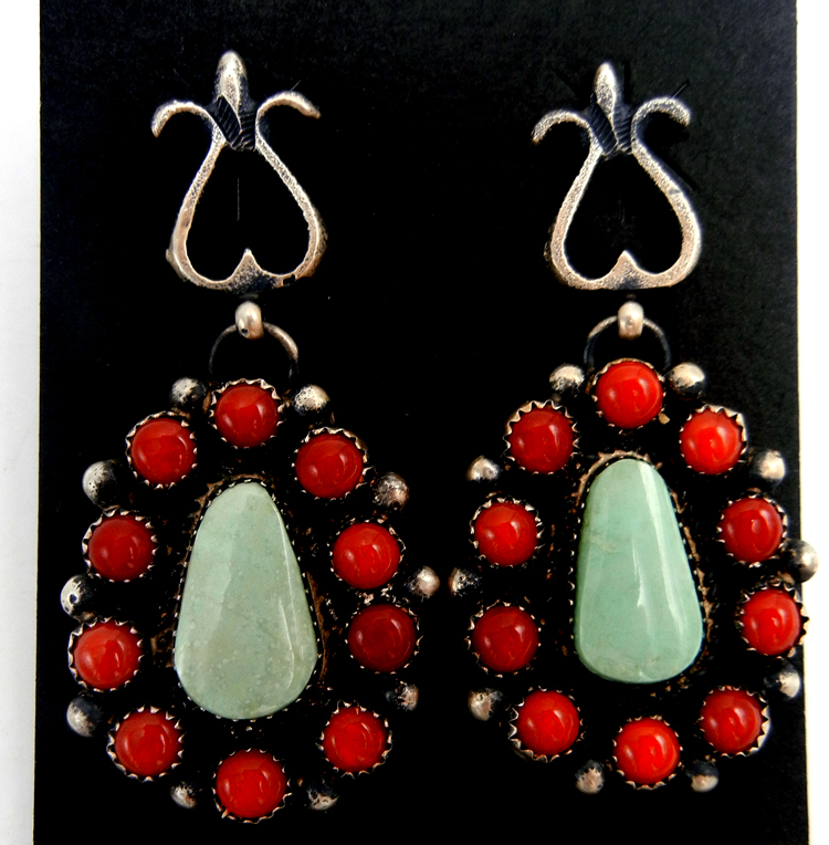 Navajo sandcast sterling silver, turquoise and coral cluster dangle earrings by Eva Billah