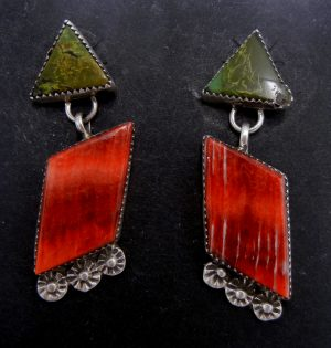 Navajo green turquoise, red spiny oyster, and sterling silver earrings by Selina Warner